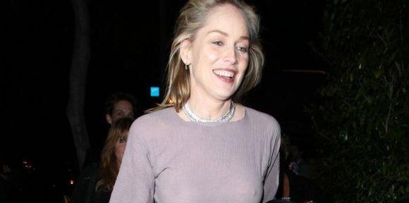 Sharon Stone transparenta pezones y es feliz